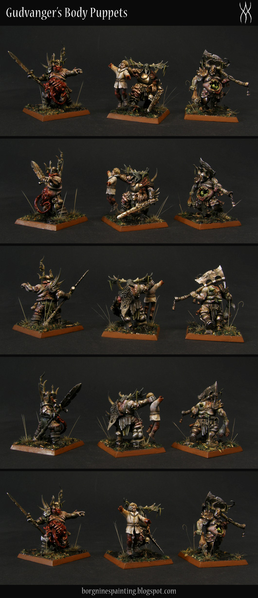 3 converted Putrid Blightkings painted in a Dark Souls / AoS28 aesthetic viewed from several angles