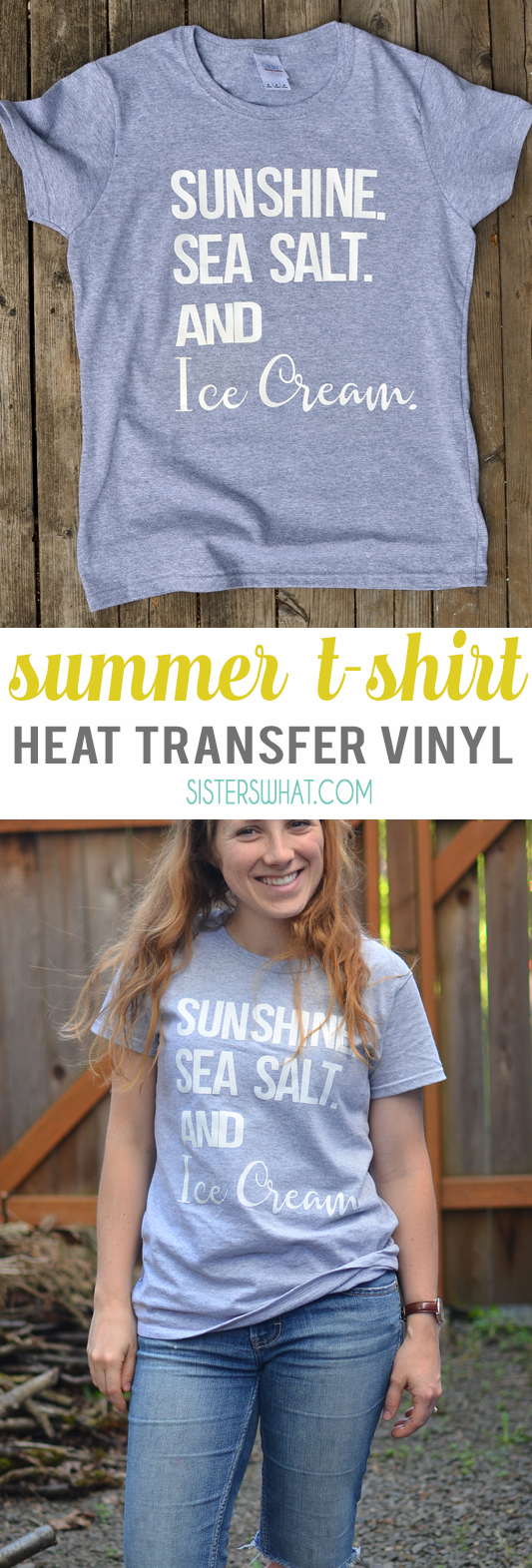 Sunshine sea salt and ice cream summer shirt using heat transfer vinyl
