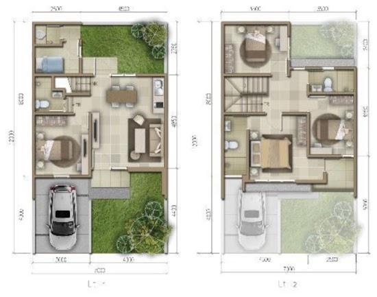 Desain Rumah Minimalis Ukuran 7x12 Meter  lingkar warna 2 denah rumah minimalis ukuran 7x12 meter 5