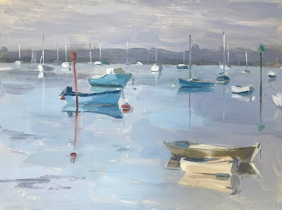 #177 'Morning Reflections, Emsworth Harbour' 18x2cm