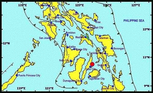 Earthquake epicenter map of Cebu, Philippines