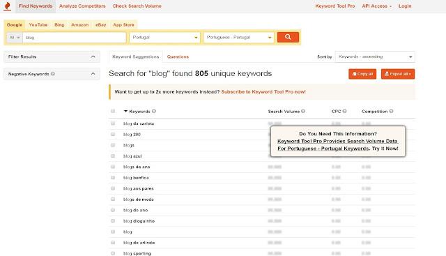 imagem do écran da página onde se pode procurar as palavras chave
