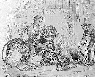 Higgins steps in to rescue his employee, George Street, Brisbane. (Queensland Figaro, 1 December 1888)