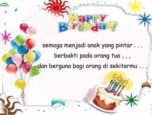 Selamat ulang tahun anakku sayang, semoga selalu diberikan kesehatan ...