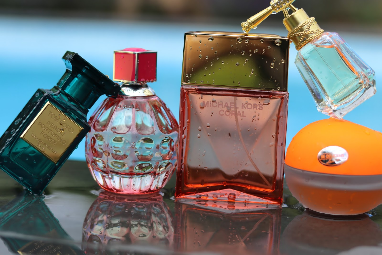 Tom Ford Neroli Portofino, Jimmy Choo Exotic, Michael Kors Coral, Juicy Couture I am Juicy Couture, DKNY Be Delicious Electric Citrus Pulse, Fragrances