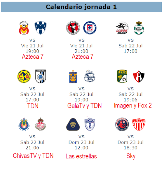Trasmision en vivo futbol mexicano jornada 1 programacion en televisión