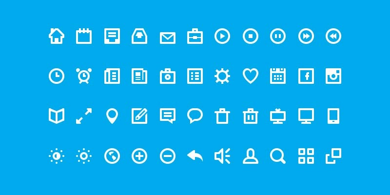 Flat White Icon Glyph Set