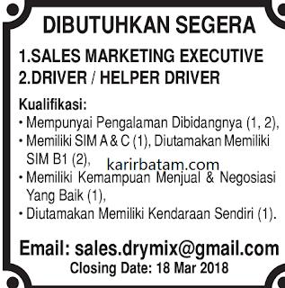 Lowongan Kerja Sales marketing dan Sopir (Punya SIM B1)