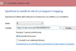 aggiungere onedrive a Windows