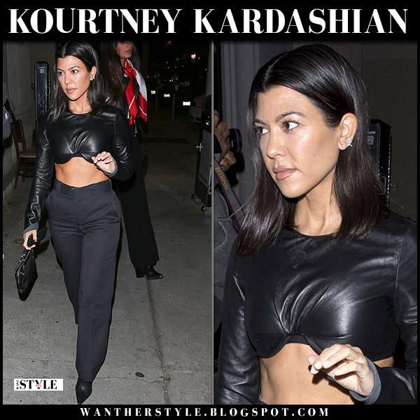 Kourtney Kardashian in black cropped leather top street style may 26