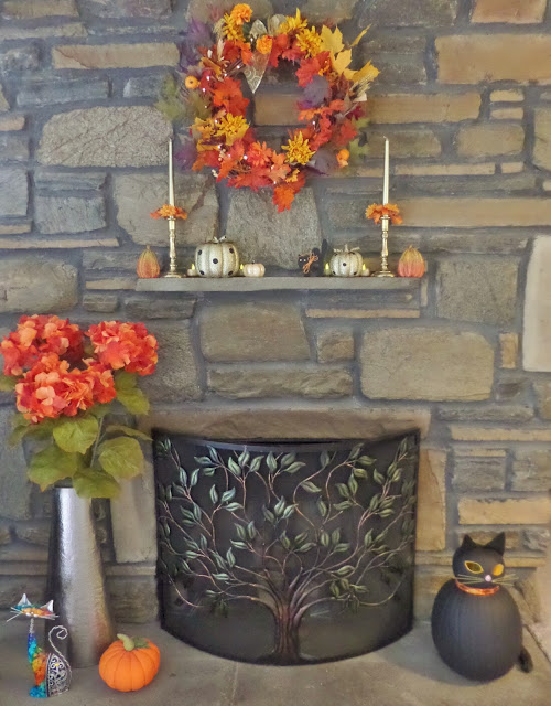 fall fire place decorations