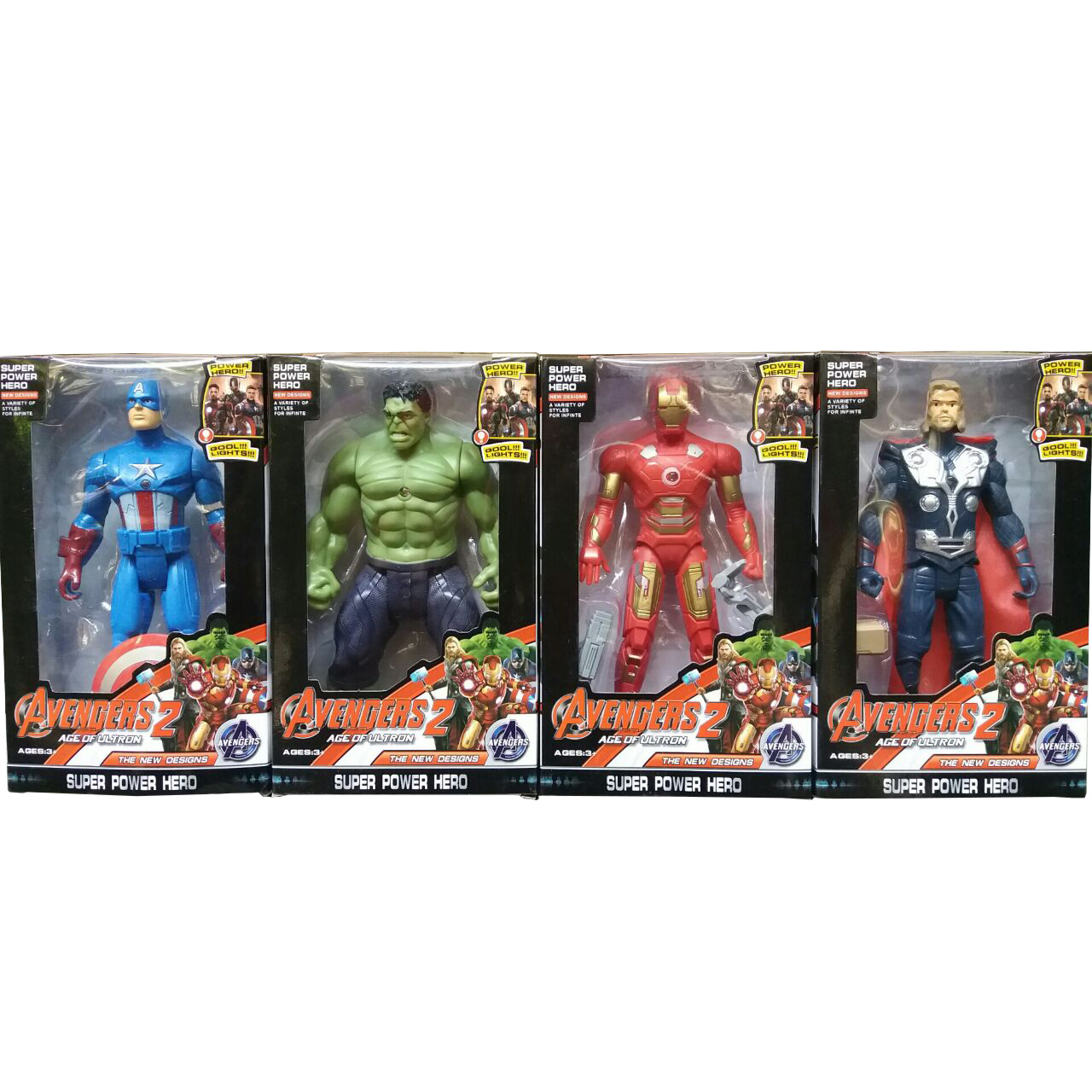 Robot Avengers Small Susanna Baby Kids 1 Set Isi 4 Karakter Captain America Ironman Thor Hulk Dada Bisa Nyala Tinggi 19cm Tiap Box 21x13x55cm