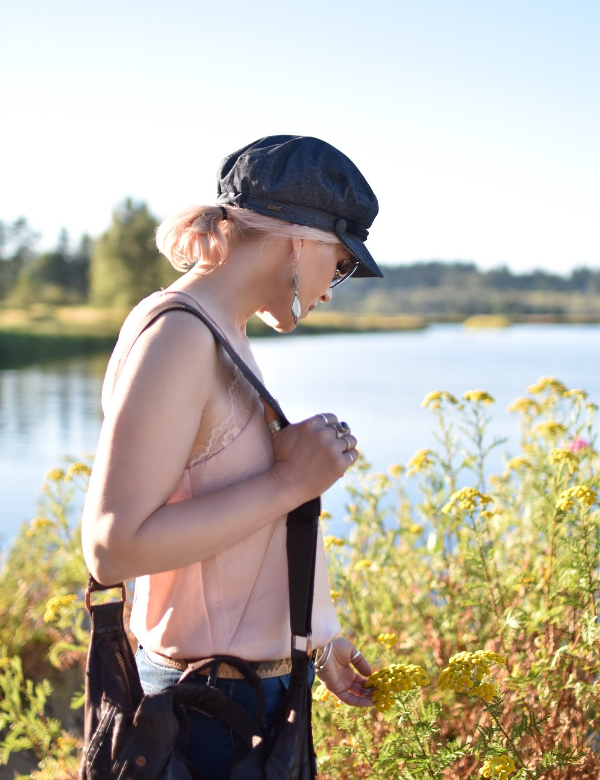 Monika Faulkner personal style inspiration - pink lace-trimmed camisole, baker boy cap
