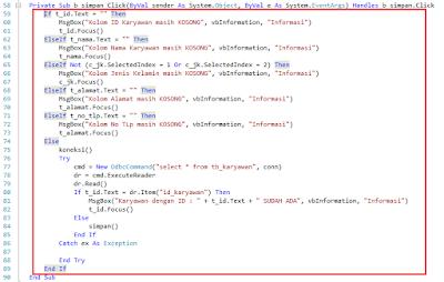 9 - Part5 membuat Aplikasi Hotel Dengan Vb.Net + Database Mysql – Form Input Karyawan