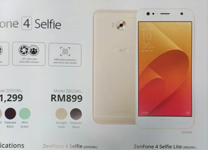 ASUS ZenFone 4 Selfie Lite With 16 MP Front Cam Spotted In Malaysia