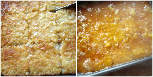 Orange pie by Laka kuharica: Cut the cooled pie into eaqule square pieces and drizzle with syrup