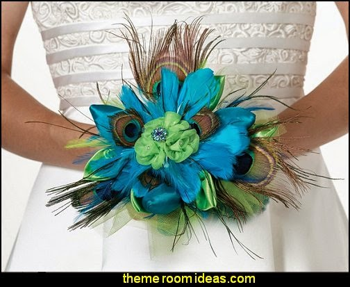 Peacock Feather Bouquet  Wedding decorations - bridal bouquets  - wedding themes - wedding decorating props - wedding supplies - wedding dress for bride - favor boxes - bridal veils -