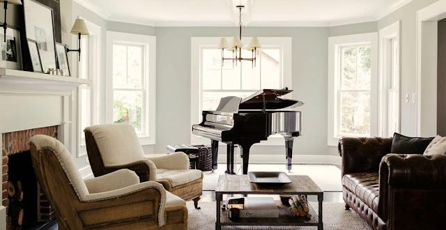 Elegant modern farmhouse decor in a European inspired classic living room on Hello Lovely Studio