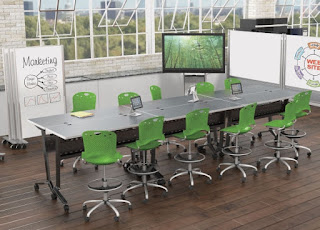 Height Adjustable Collaborative Table Configuration
