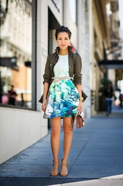 street style: khaki coat with aqua color skirt