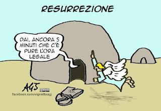 pasqua, resurrezione, ora legale, umorismo, vignetta