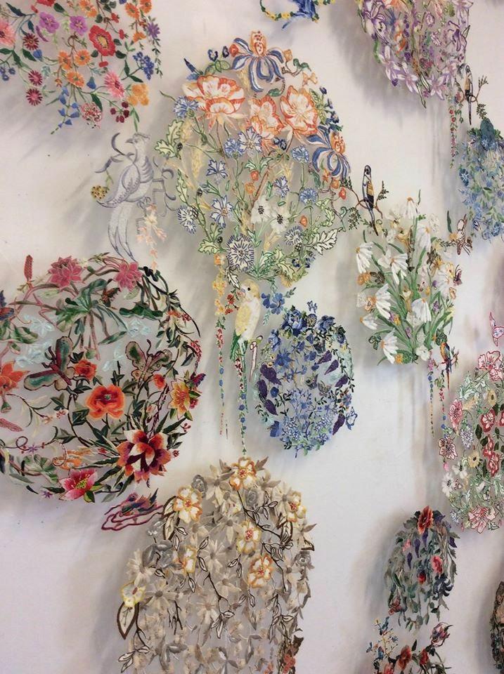 kwiatowe obrazy tekstylne