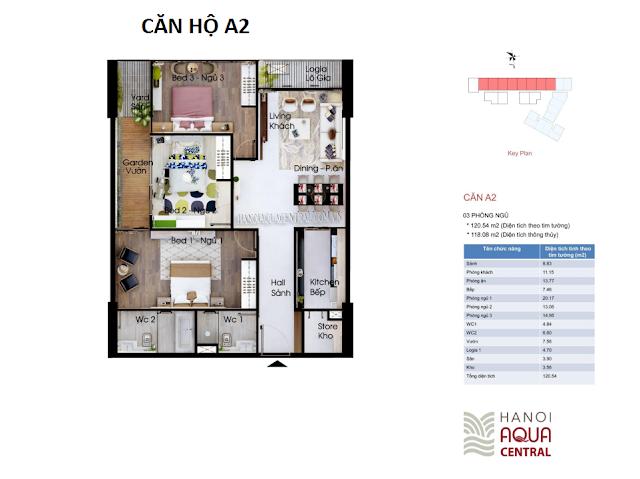 Mặt bằng chi tiết căn hộ A2