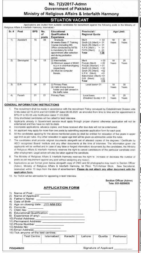 Ministry of Religious Affairs & Interfaith Harmony Jobs 2020