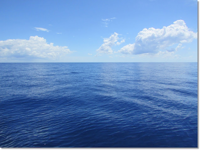 Ocean horizon of flat cobalt seas meets bright blue sky with white puffy clouds.