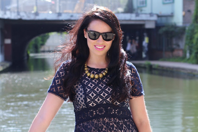 Emma Louise Layla in navy lace skater Oasis dress - UK fashion blog