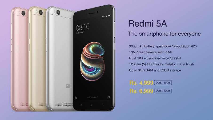 Redmi 5A: Specifiactions and Price in India