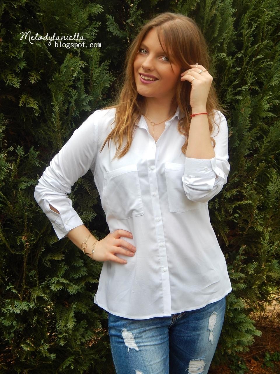 biała koszula bonprix z długim rękawem i kieszeniami elegancka moda fashion style girl