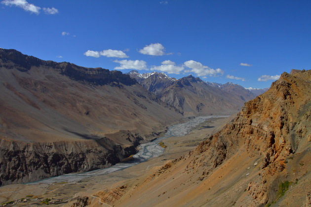 Spectacular Spiti valley as seen from the Dhemul mountain highway