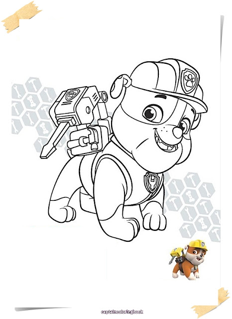 PAW Patrol Rubble Colouring Page