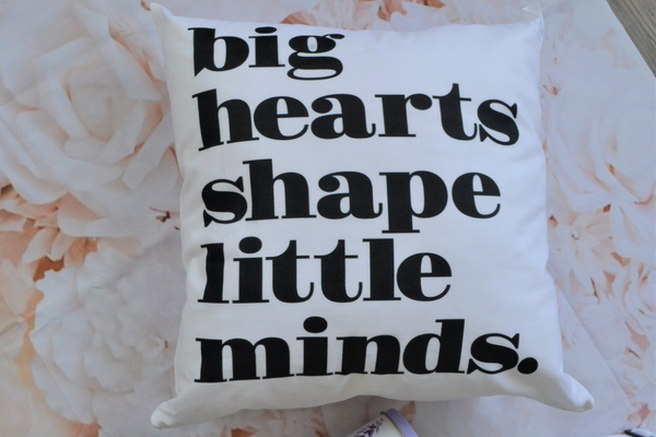 big hearts shape little minds pillow gift for teachers
