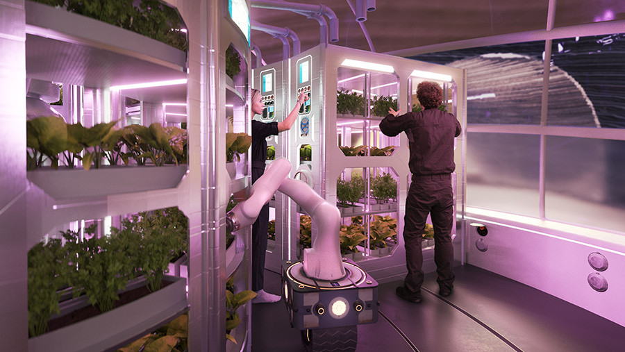 Mars greenhouse interior by Hassell & EOC (NASA's 3D-Printed Habitat Challenge)