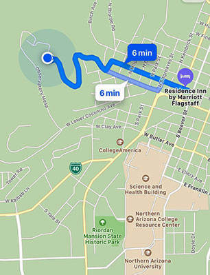 It is only 6 minute drive from downtown Flagstaff to Lowell Observatory (Source: Palmia Observatory)