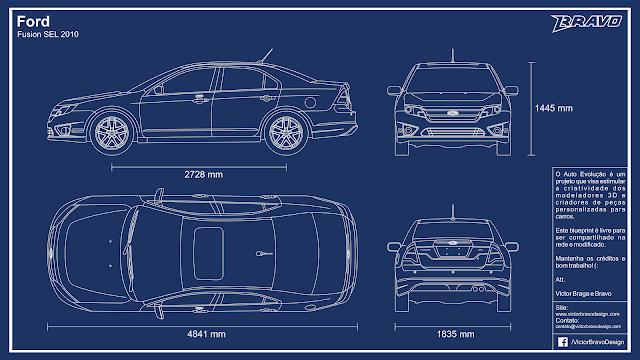 Imagem mostrando o desenho do blueprint do Ford Fusion SEL 2010