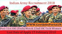 Indian Army Recruitment 2018 – 51st SSC (Tech) Men & 22nd SSC Tech Women