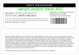Men's Wearhouse coupons march 2017