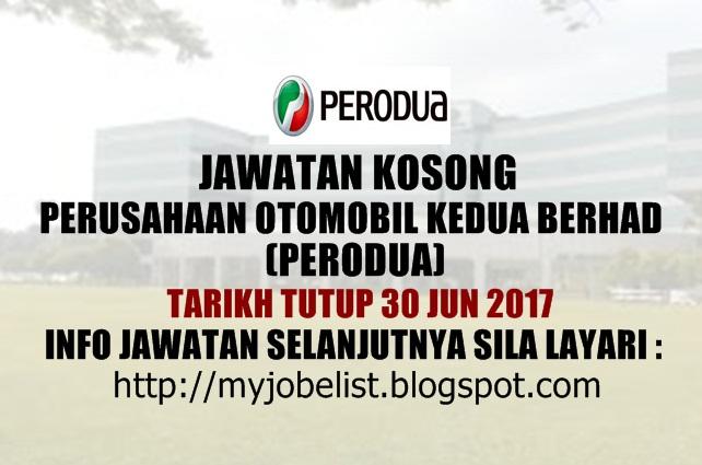 Jawatan Kosong Terkini di PERODUA Jun 2017
