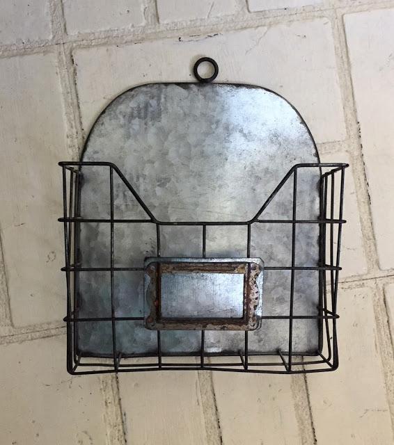 Garage Sale Wire Bin/Cabinet Door Up Cycled As A Mail Organizer