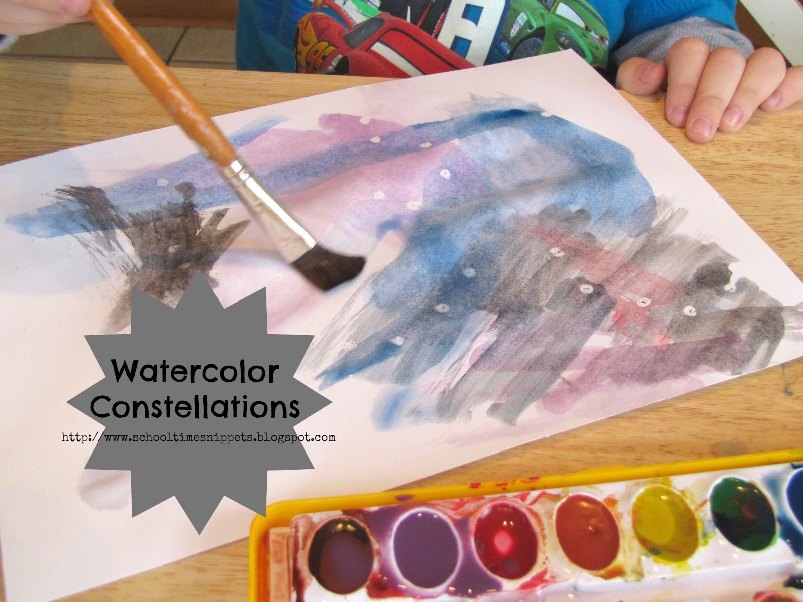 Watercolor Constellations Space Art Project