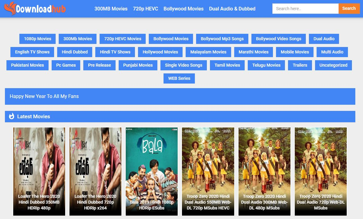 DownloadHub 2020 - 300MB Dual Audio Bollywood Download
