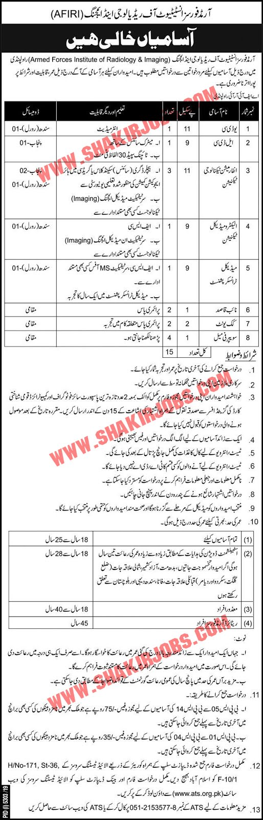 Armed Forces Institute Of Radiology And Imaging AFIRI Jobs March 2020