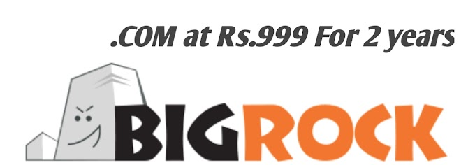Big Rock Offers .COM at Rs.999 For 2 years