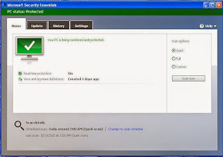 Microsoft Security Essentials gagal