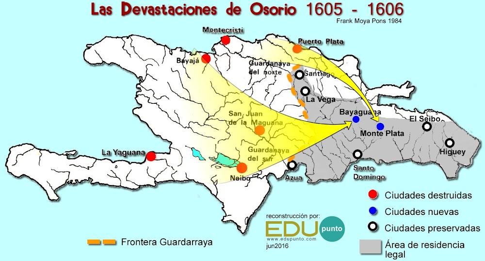 Yaguana, Bayaja, montecristi, puerto plata, Osorio, 1606, devastaciones, despoblamiento