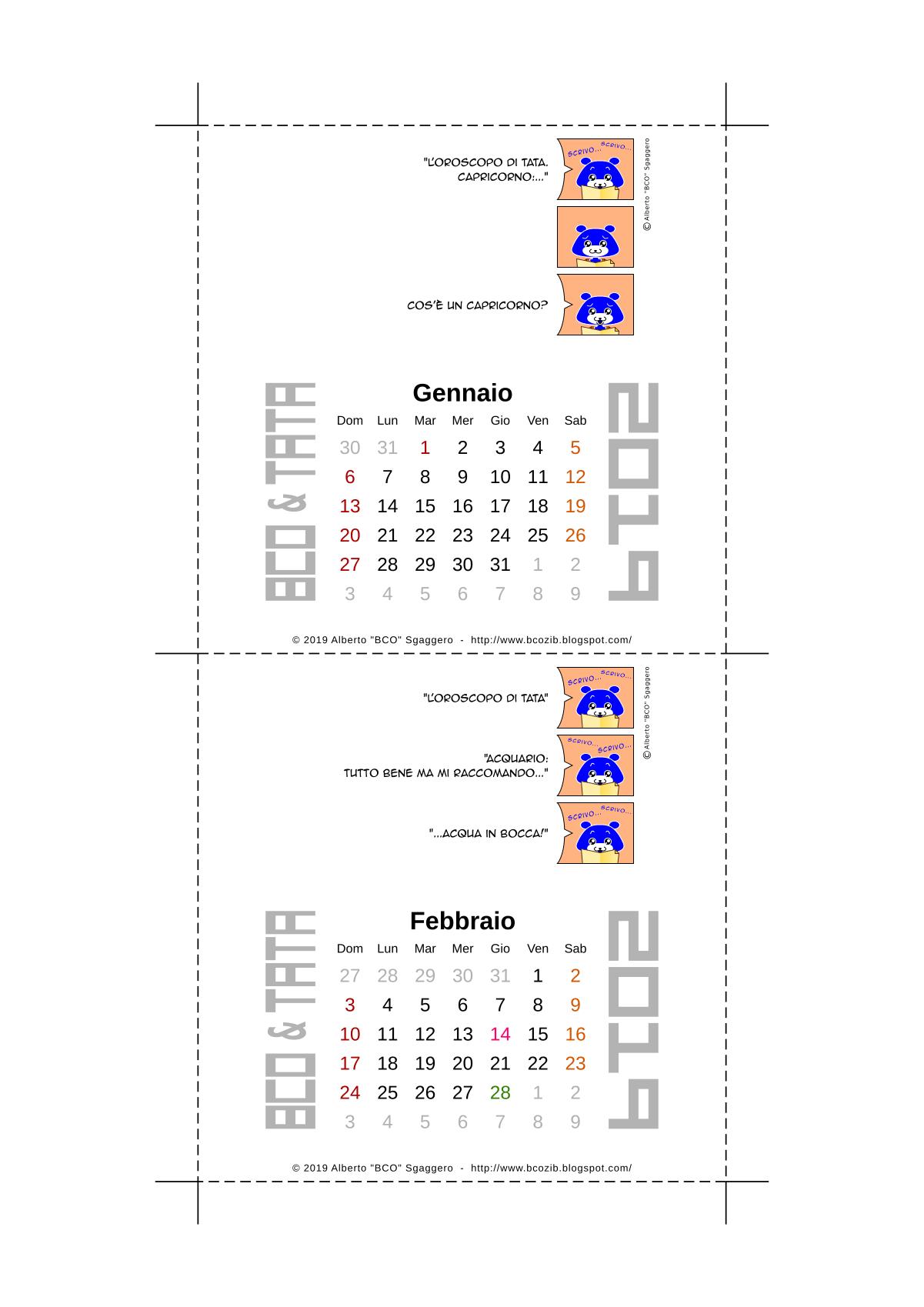 Il calendario 2019 di BCO e TATA - Gennaio e Febbraio