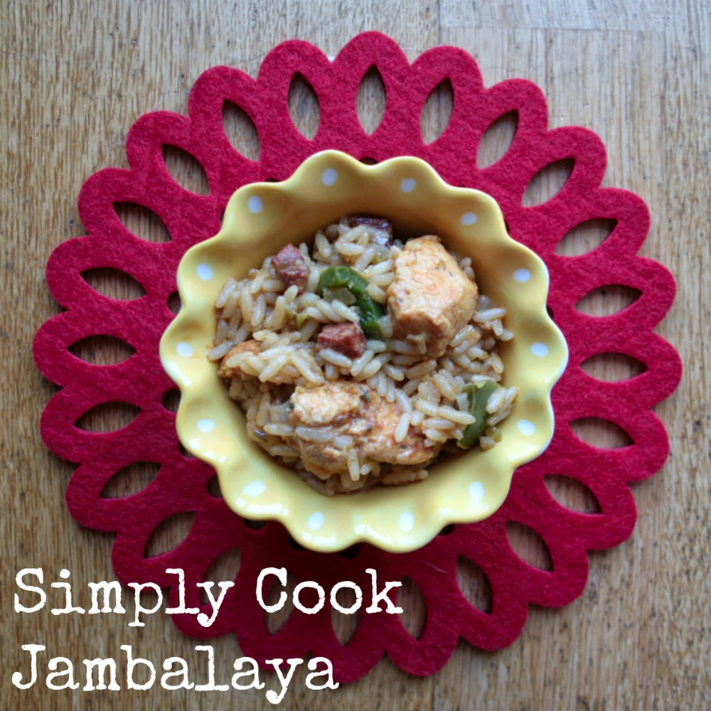 My first cooking adventure using a Simply Cook recipe - jambalaya.  Chicken, green peppers, onion, celery and rice all come together to create a hearty and easy to cook meal!